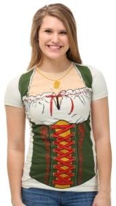 Oktoberfest Beer Maiden Dirndl Print T-Shirt