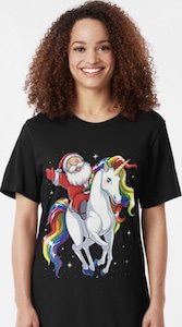 Santa On A Unicorn T-Shirt