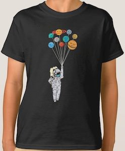 Astronaut Dangling On Planets Balloons T-Shirt
