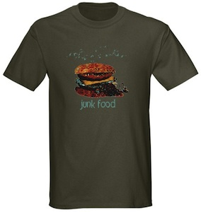 Garbage burger made in to fast food on this t-shirt
