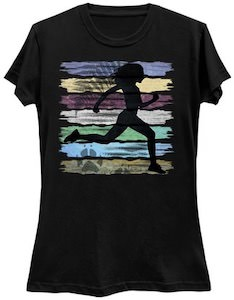 Running Girl And Stripes T-Shirt