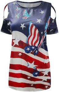 Women's US Flag And Butterflies T-Shirt